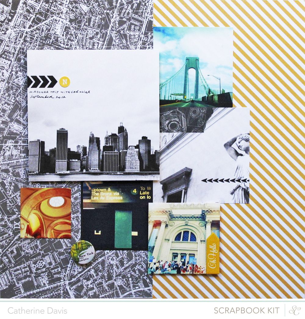 My Bright Lights, Big City layout using the @Studio Calico January Block Party Scrapbooking kits. There is vintage camera washi tape here!