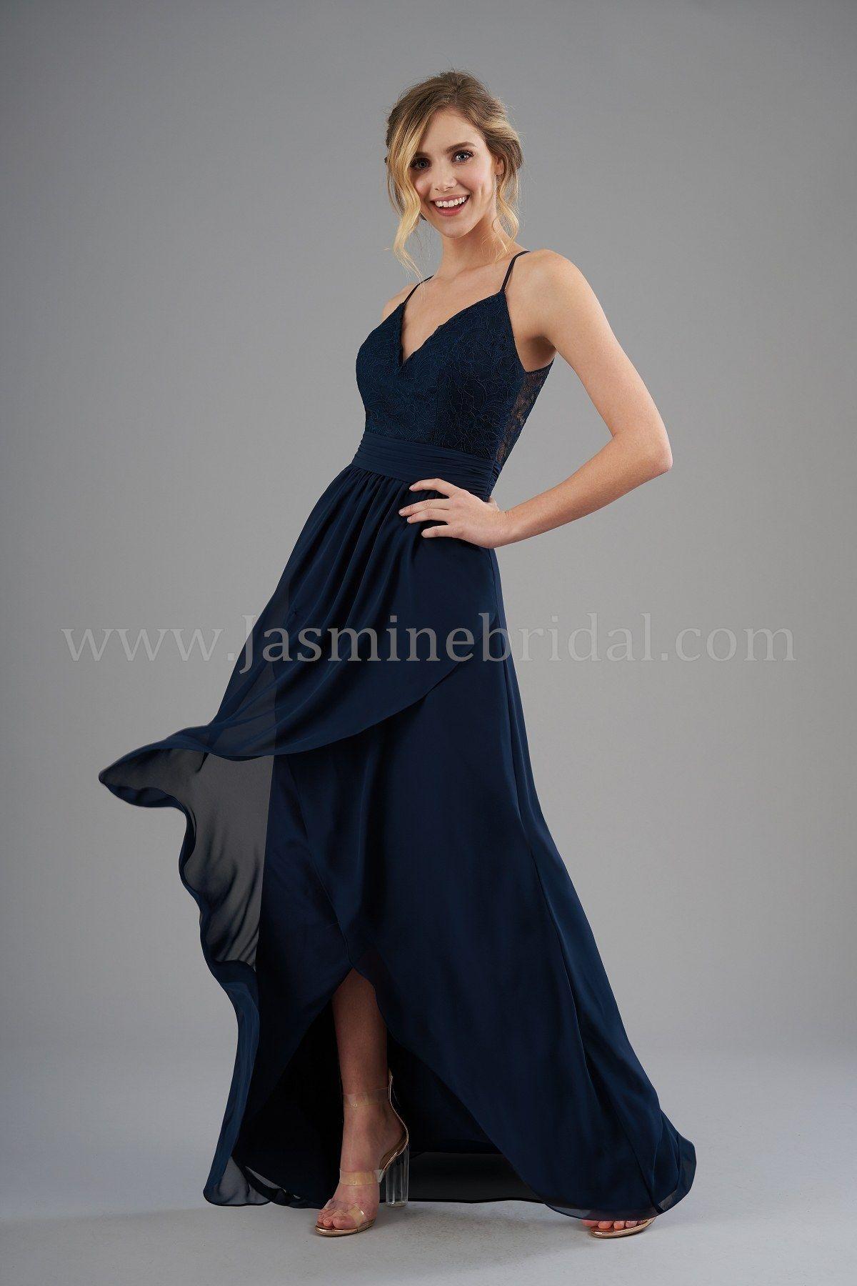 B halter vneck lace u poly chiffon long bridesmaid dress