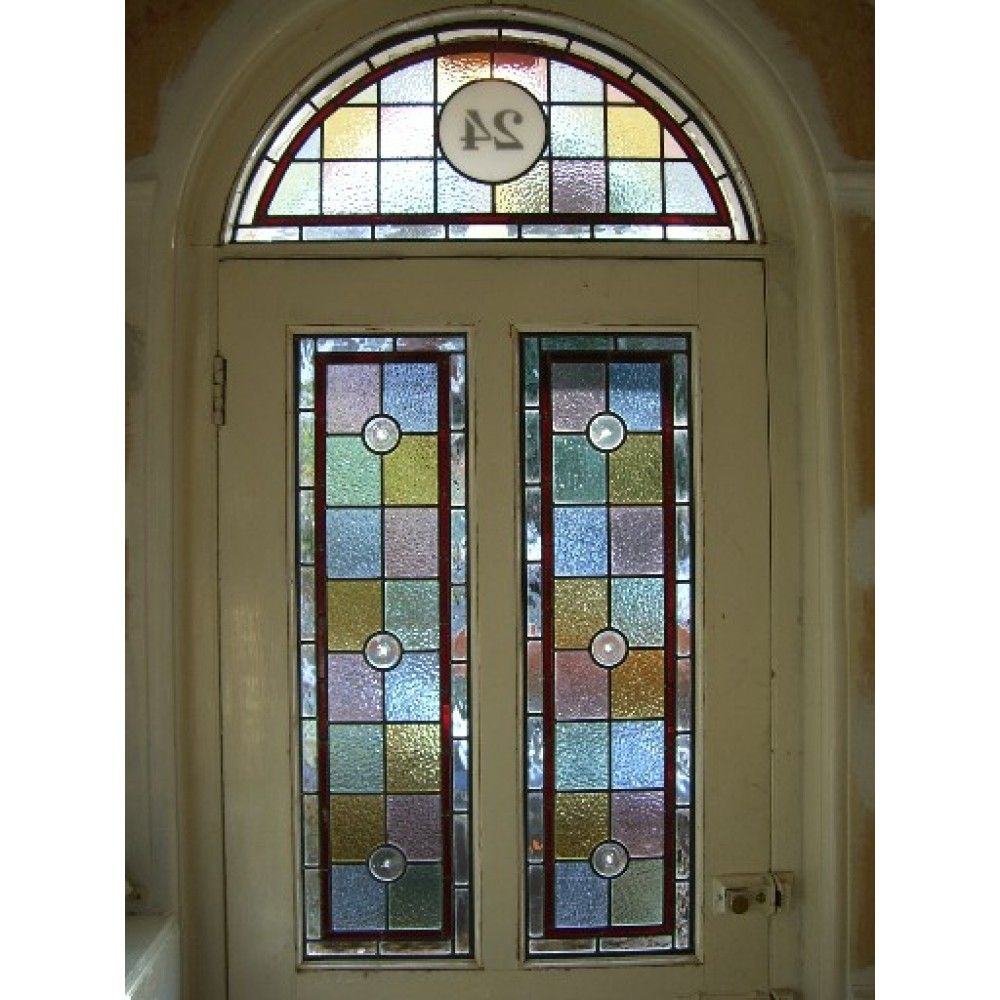 048 Hand Made Stained Glass Panel Victorian Design Squares With Red