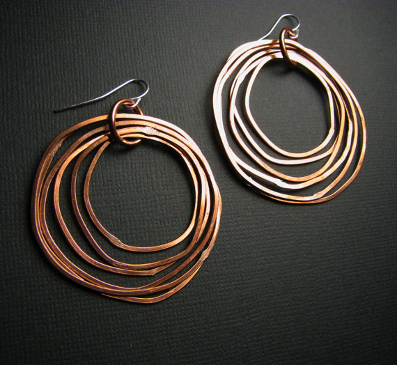 Copper Earrings Shiny Finish Layered Rings Hoop Light Weight Made To Order Each Pair Are Handmade From Scratch And One Of A