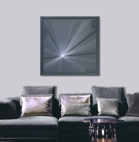 Zen Wall Art large abstract zen wall art in gray - framed art - 3d uv string