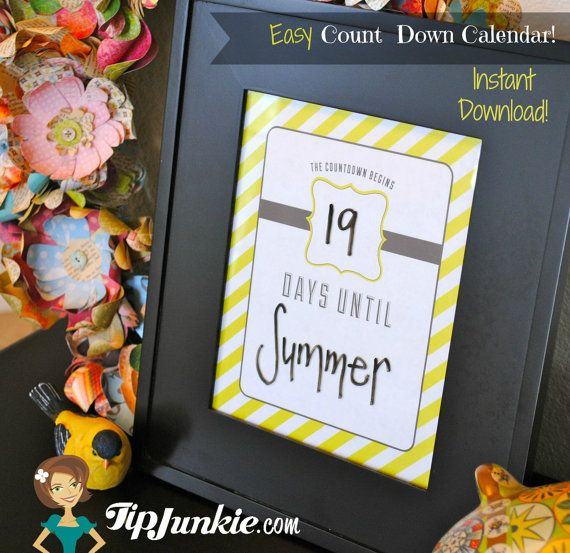 4 Blank Count Down Calendars - Template - Sign - Home Decor (Instant