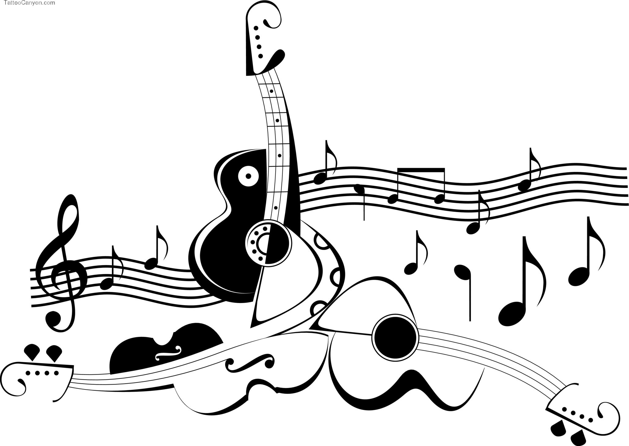Colorful Guitar Tattoo With Music Notes Picture 7470 Free Art Prints Art Diary Music Notes