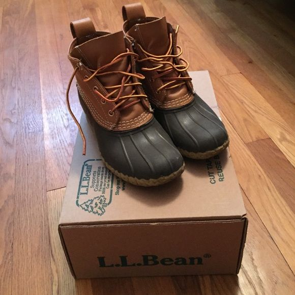 """L.L. Bean Boots 6"""" Bean Boot Tan/Brown. Size 6M(B). Backordered until March. Asking to break even and will have to pay extra for shipping. In perfect condition, only signs of wear is where the laces rubbed on the leather shown in pictures. The tread on the bottom is in perfect condition. Worn for a month last winter and have been sitting in my closet. Will ship in L.L. Bean box. L.L. Bean Shoes Winter & Rain Boots"""