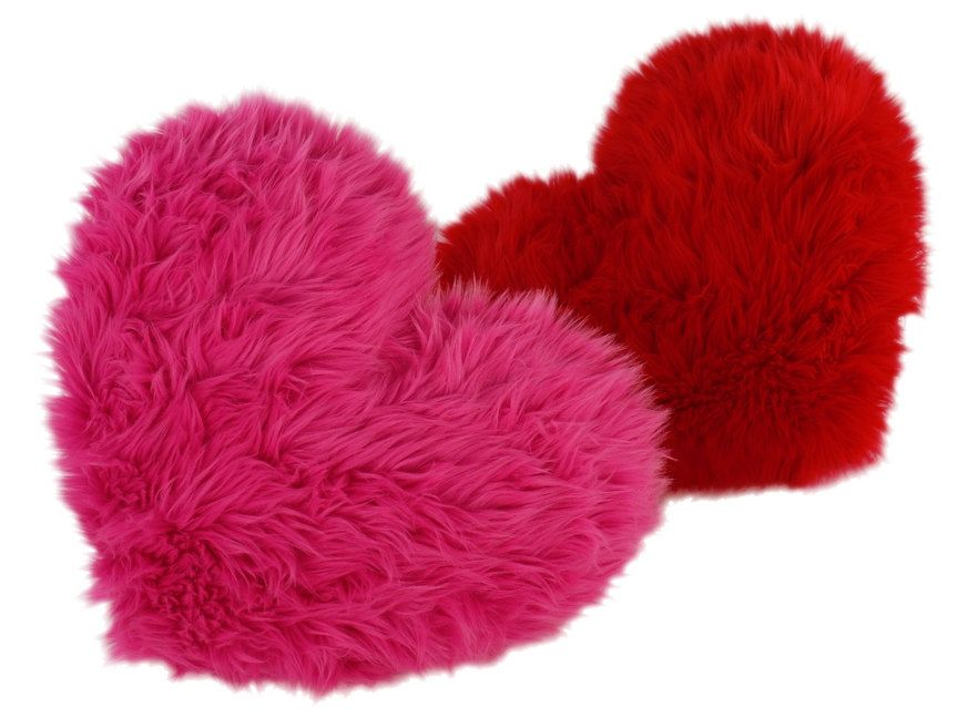 Hot Pink Heart Shaped Pillow Fluffy Faux Fur Small Size Etsy Hot Pink Throw Pillows Pink Accent Pillow Faux Fur Bedding