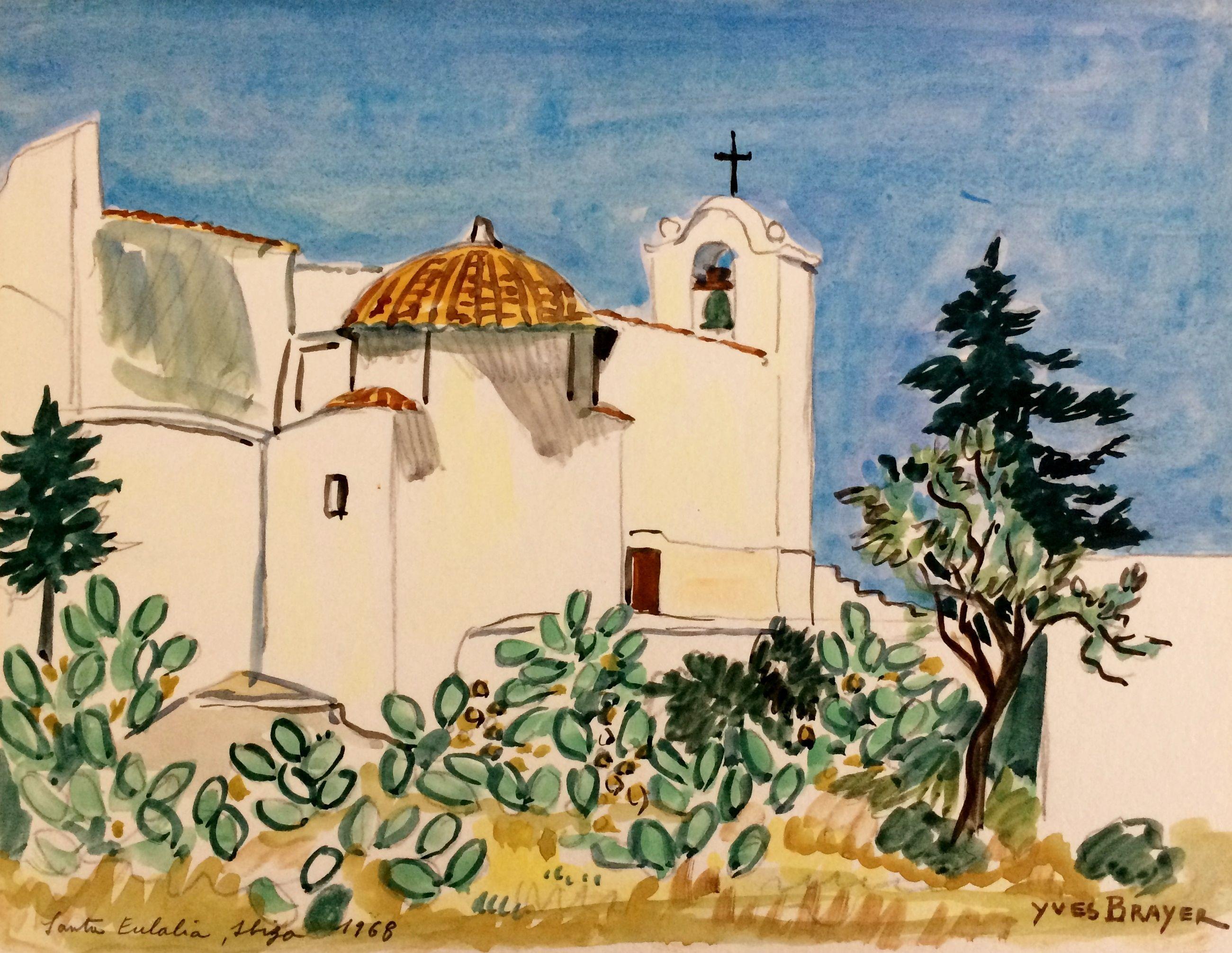 Lot Yves Brayer Quot Santa Eulalia Ibiza Quot 1968