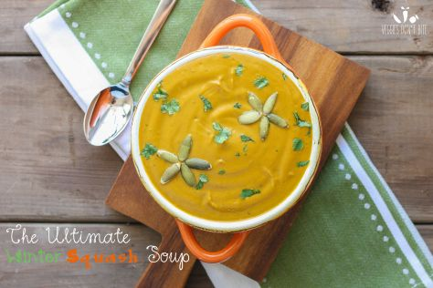Creamy winter squash soup with sage, thyme and cilantro