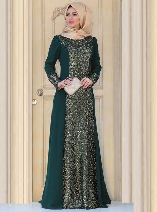 Sofia Evening Dress - Green - Zehrace Dress Brukat 75b8a2316