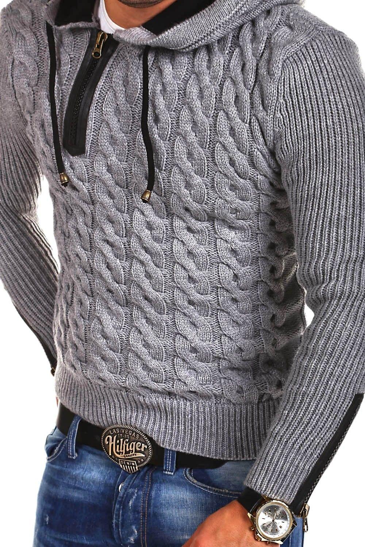 1eb41426843685 Tazzio Strick-Hoodie mit Zipper Grau 15-453 - Tazzio - Marken ...