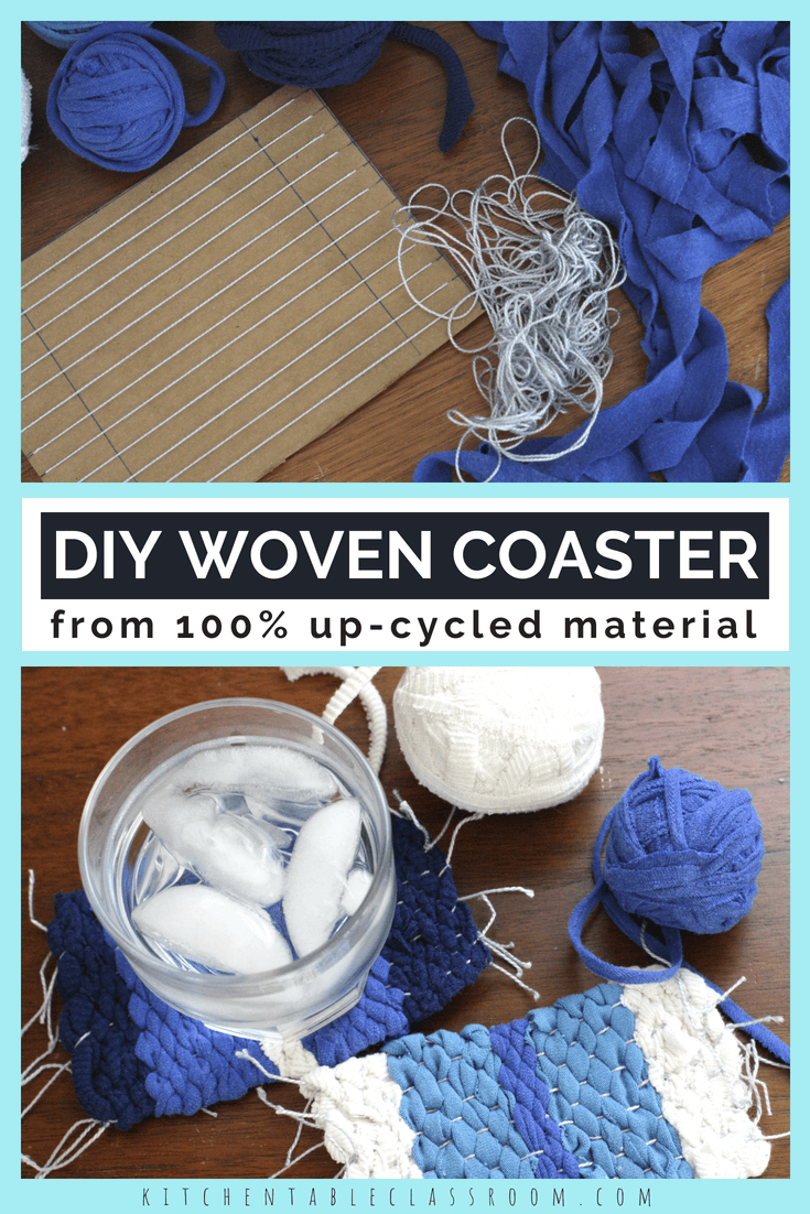 Diy coasters from upcycled yarn in knit crochet weave