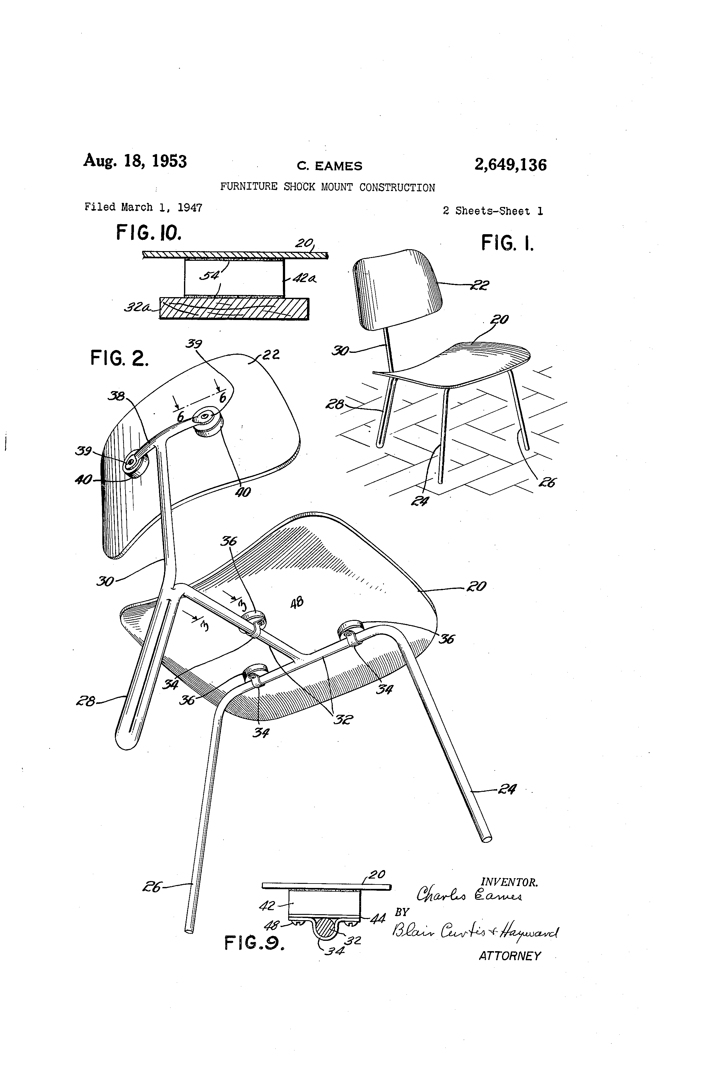 Eames Chair Patent Patent Us2649136 Furniture Shock Mount Construction