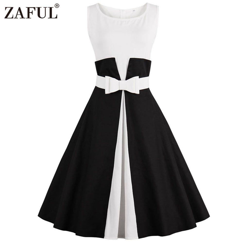Barato Zaful marca plus size 50 s nova verão mulheres dress o neck belt robe  retro