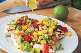 grilled halibut with mango avocado salsa. recipes | goop.com