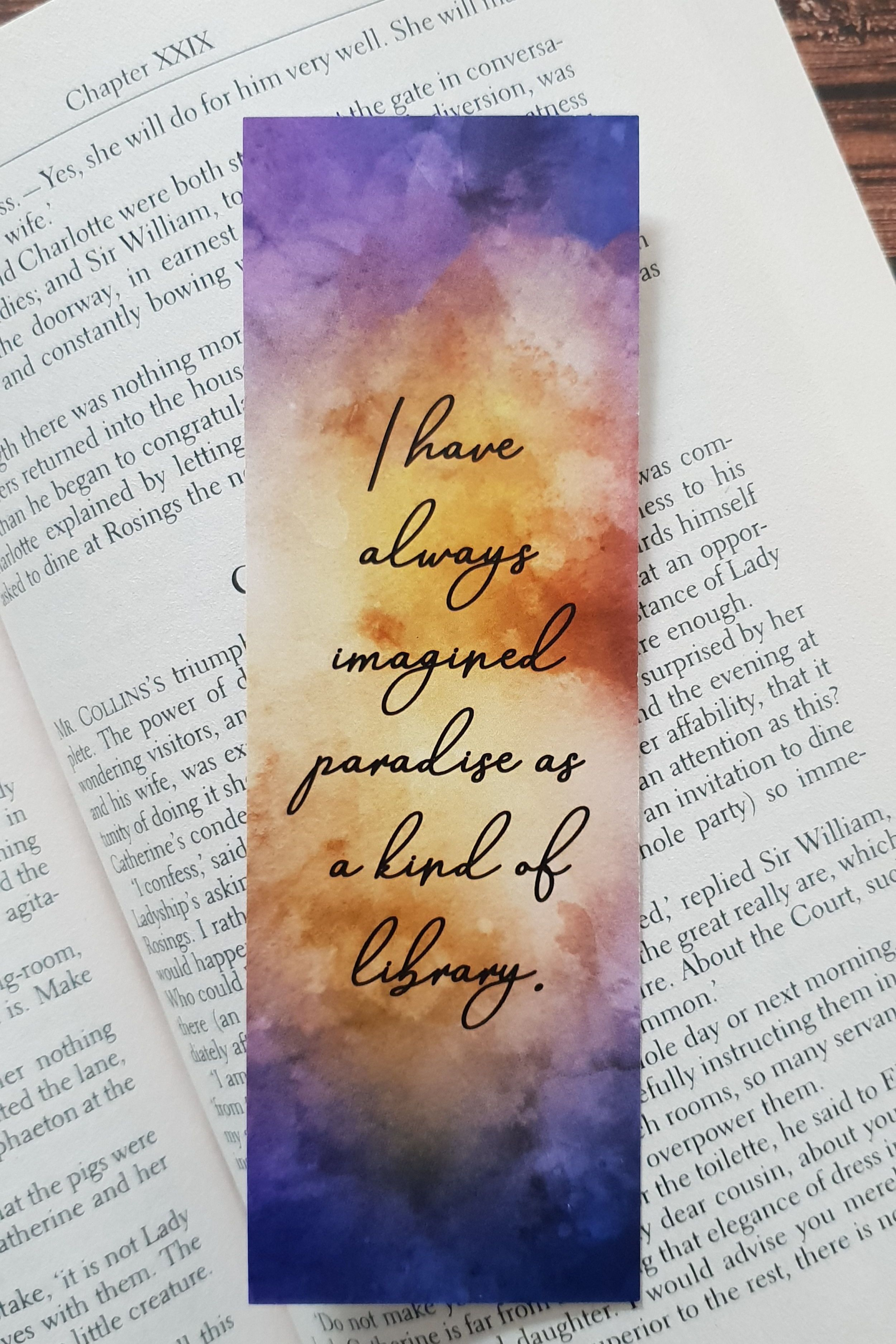 Watercolor Bookmark Printable Bookmarks Book Quote Bookmark