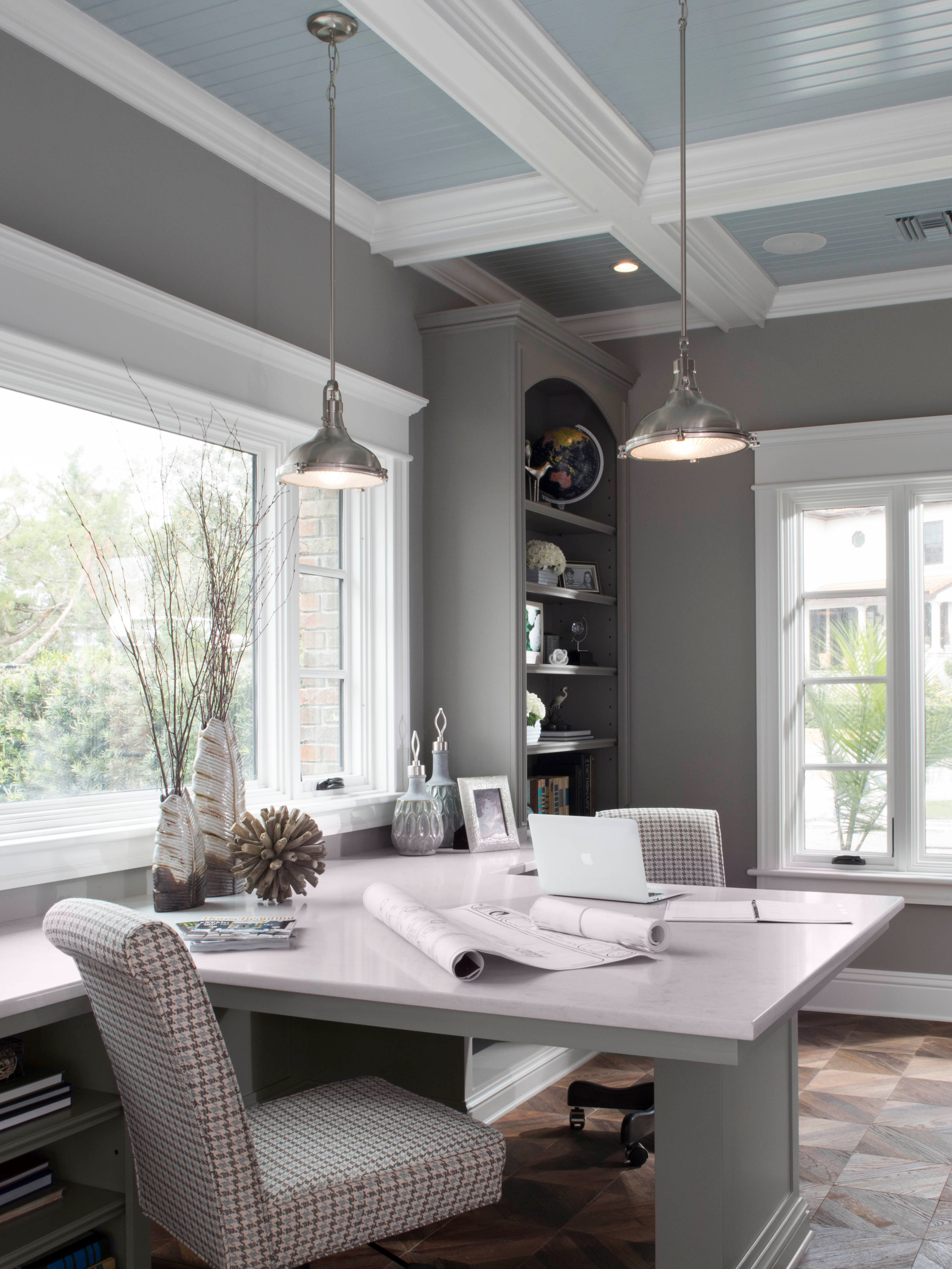 This Home Office Interior Design Project Incorporates Fresnel An Antique Style Brushed Nic Office Interior