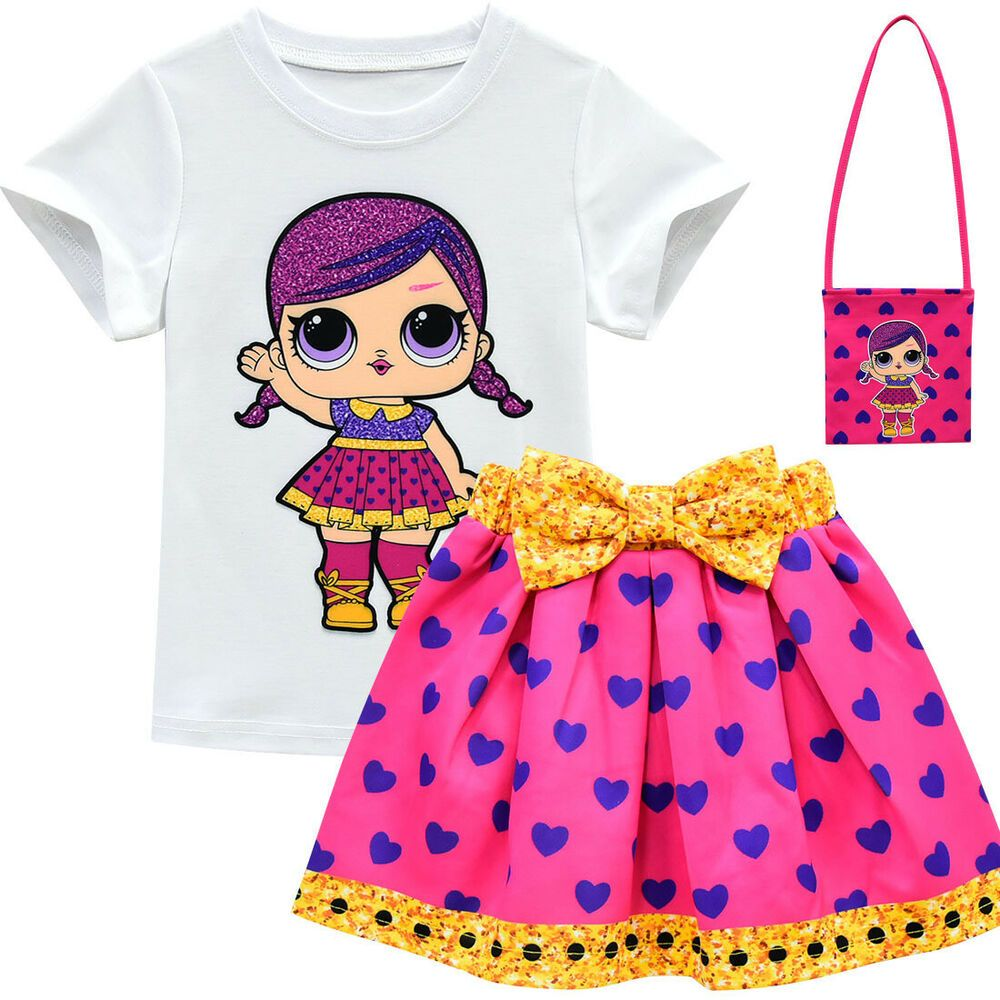 Lol Surprise Dolls Costume Kids Girls T Shirt Pleat Skirt Outfit Dress with Bag
