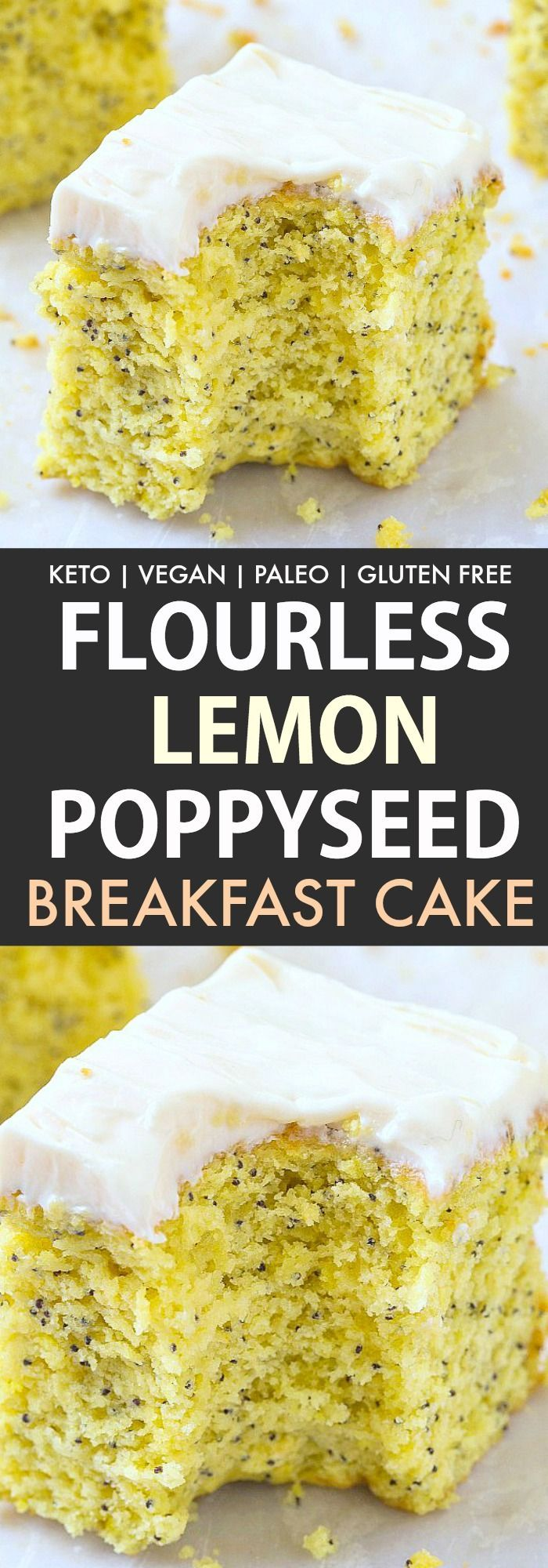 Flourless Keto Lemon Poppy Seed Breakfast Cake topped with a guilt-free thick frosting! An easy ketogenic and vegan breakfast recipe packed with protein- A fluffy and moist cake, yet tender on the outside, LOADED with lemon flavor!