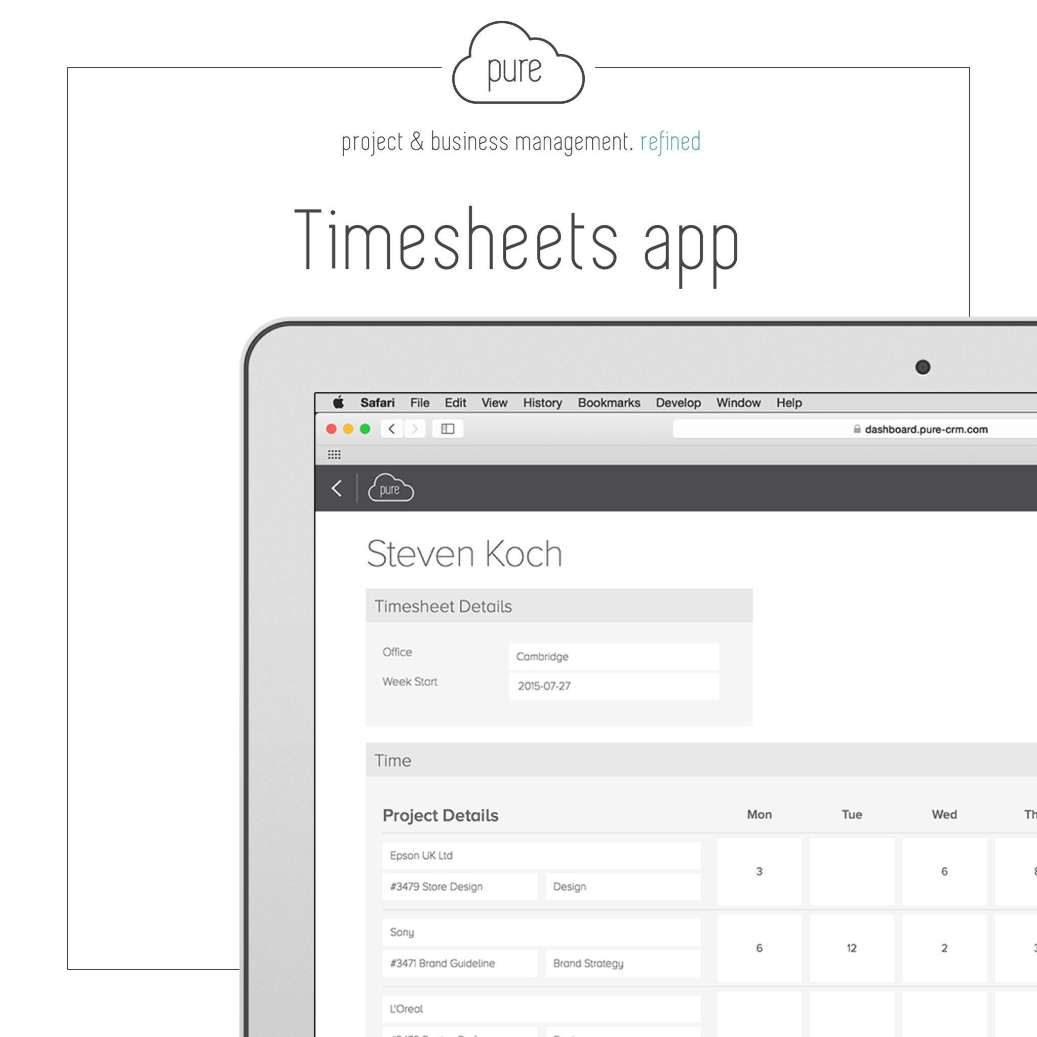 pure s timesheet app will enable employee s to log the time they ve
