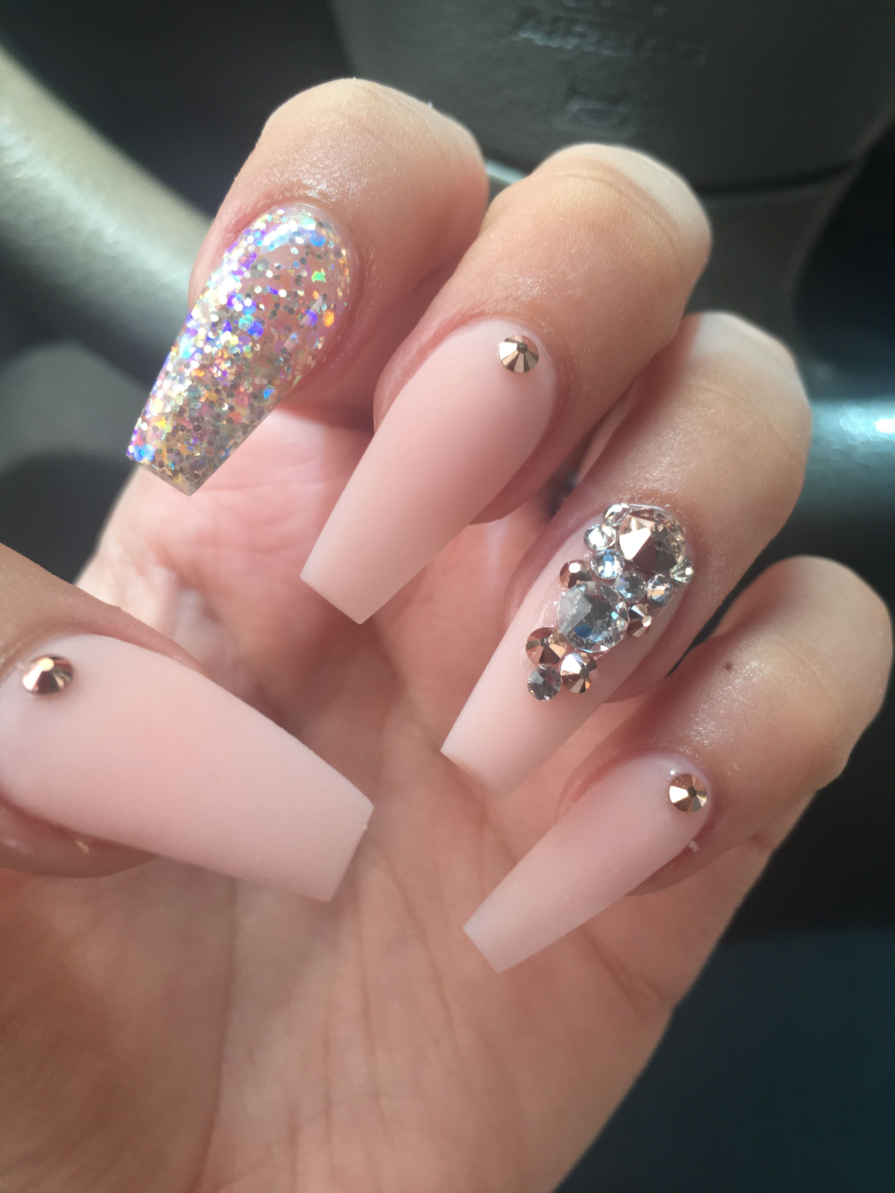 Pink Coffin Nails With Images Homecoming Nails Matte Pink Nails Quinceanera Nails