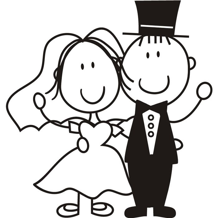 cartoon bride and groom wall sticker wedding wall decal ...