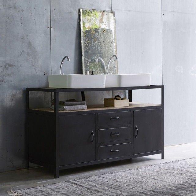 Meuble Salle de bain en métal et bois de manguier 140 Industriel - Meuble Avec Miroir Pour Salle De Bain