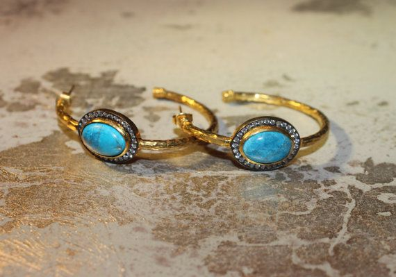 Hammered Gold & SIlver Hoop Earrings with Turquoise by KallisteNYC, $42.00