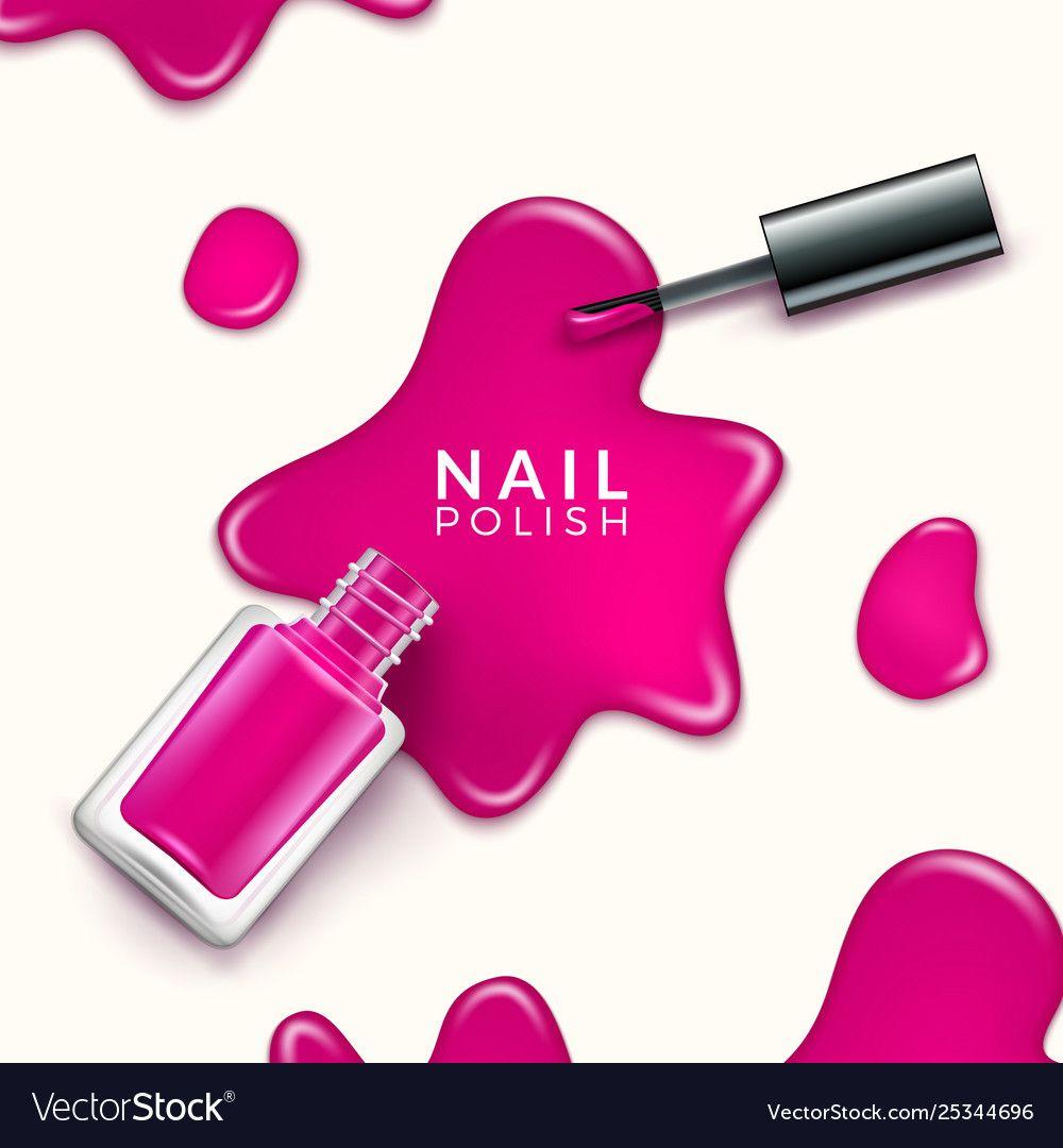 Nail polish beauty paint drop cosmetic bottle Vector Image