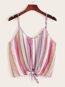 Button & Knot Front Colorful Striped Cami Top 6.00 USD #stripedcamitops Button & Knot Front Colorful Striped Cami Top 6.00 USD #stripedcamitops