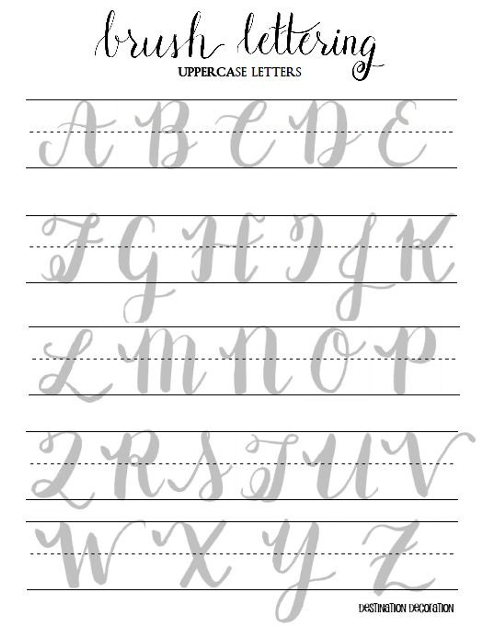 Brush Lettering Practice Worksheets Uppercase And