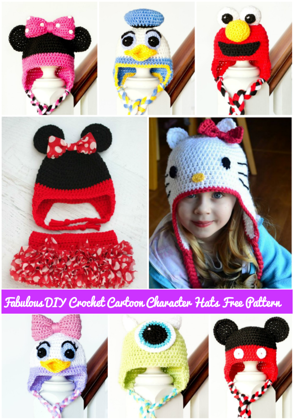 20+ Fabartdiy free crochet cartoon character hat patterns … | Pinteres…