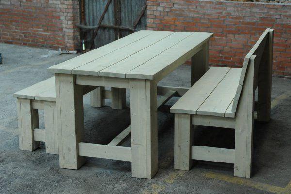 Steigerhouten tuinset original tafel 180x80cm banken 130cm grey