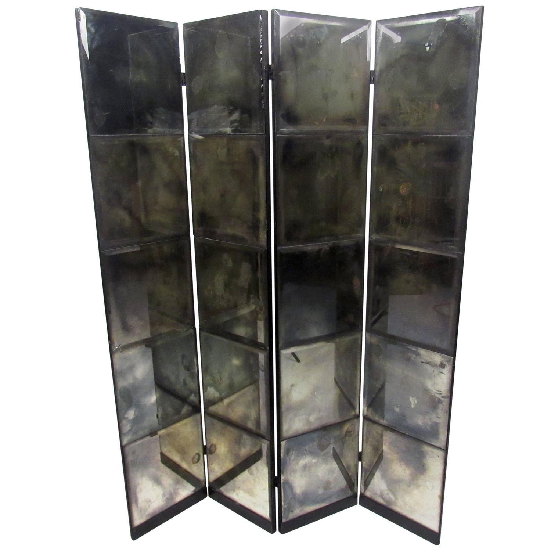 Unique mid century mirrored room divider
