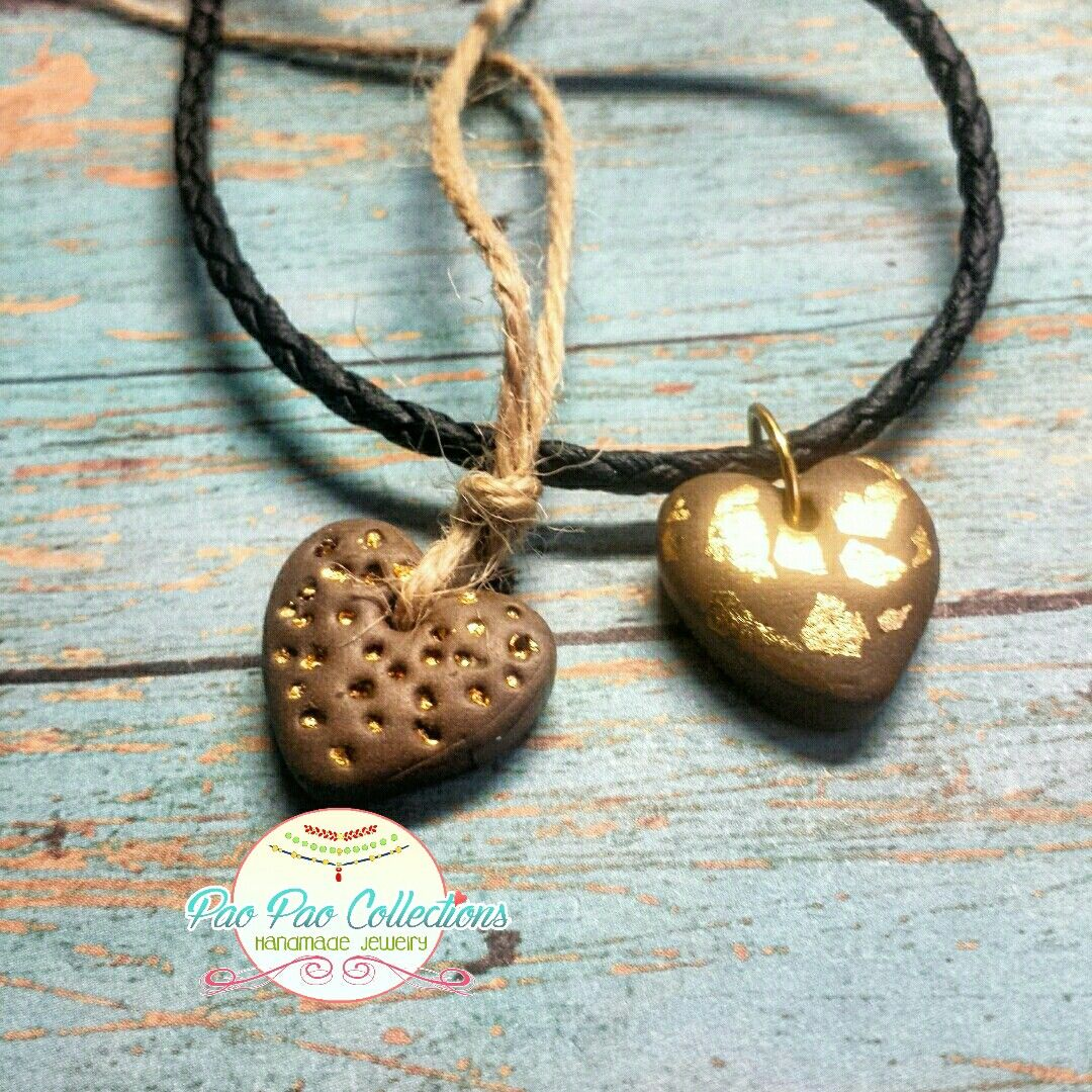 Cord, polymer clay with heart pendant