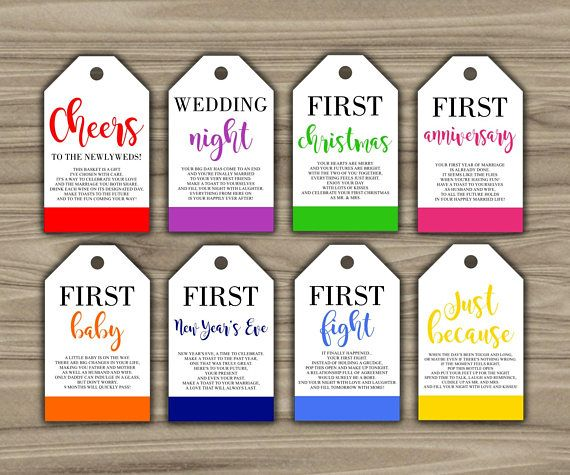 Wine Firsts Wedding Gift: Bridal Shower Gift Basket Tags