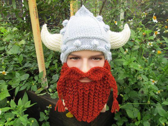 ff7fb246c05 Vikings hat with horns beard hat Long Beard Beanie Bearded Hats Knitted  viking beard hat knit viking hat with beard viking hat with horns