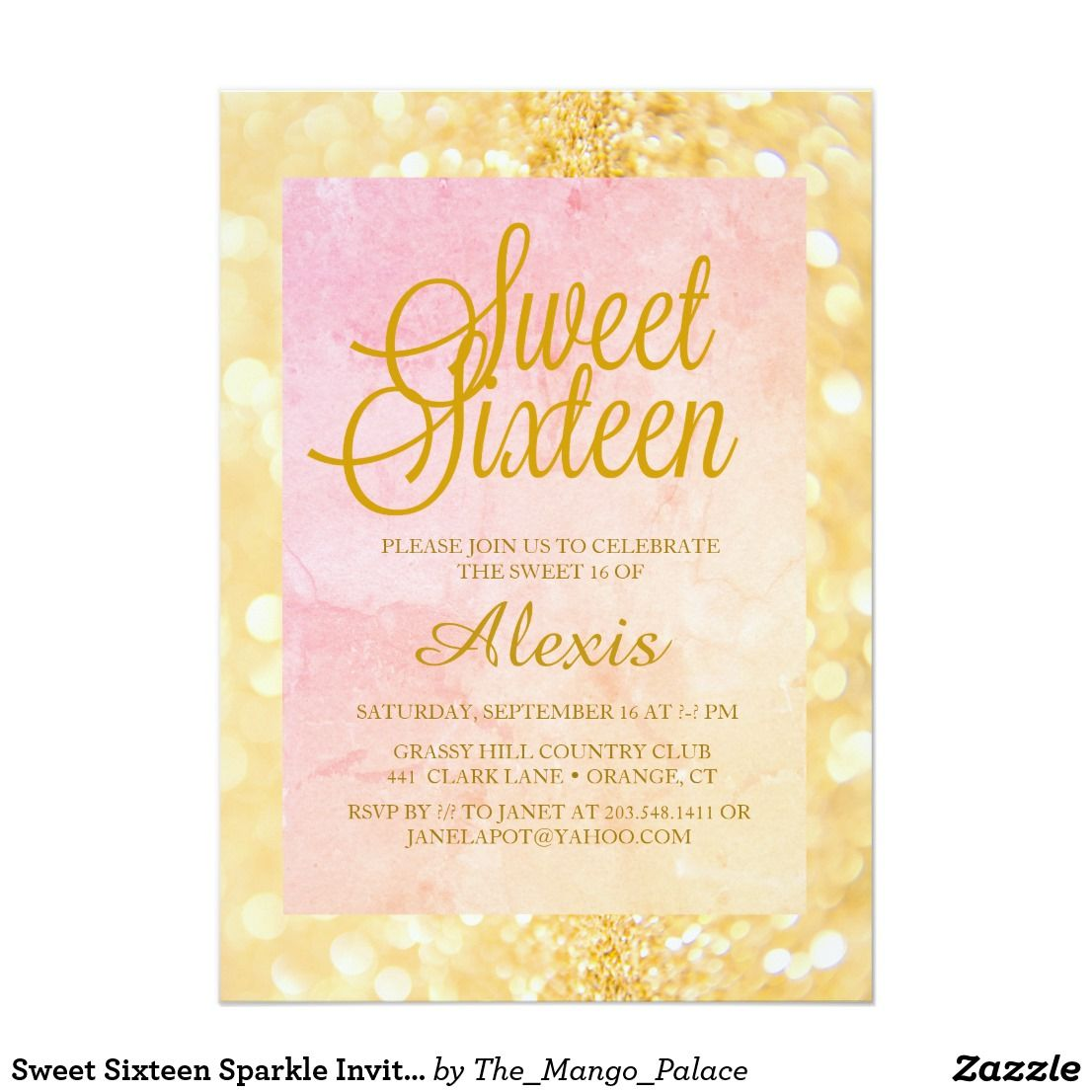 sweet sixteen sparkle invitation in 2018 sweet 16 pinterest