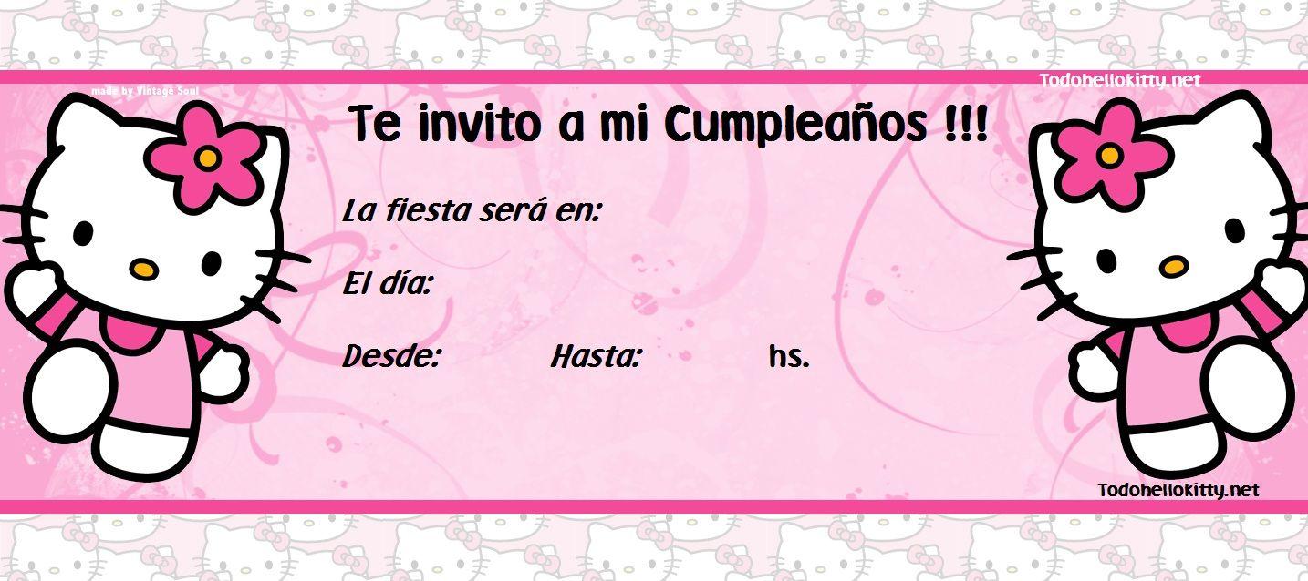 Invitacionn Kitty Cumpleaños De Hello Kitty Invitaciones