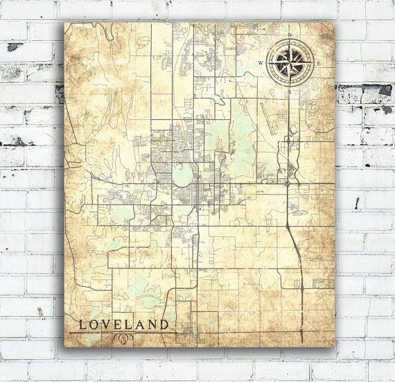 LOVELAND CO Canvas Print Loveland Co Colorado Town City Plan Vintage ...
