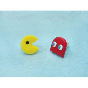 Pac-Man, come cocos,pendientes,earrings,fimo,video juegos,video games,retro,arcade,