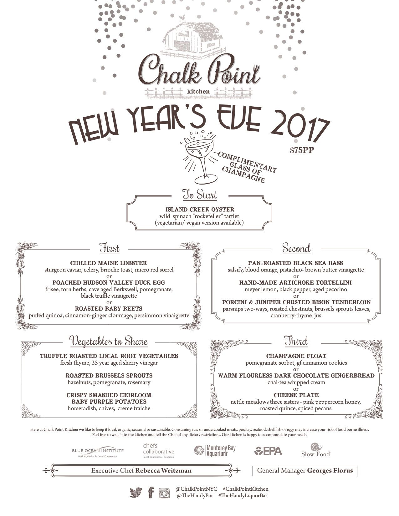 Our Limited New Years Eve Course Markettable Menu Reservations - Open table menu