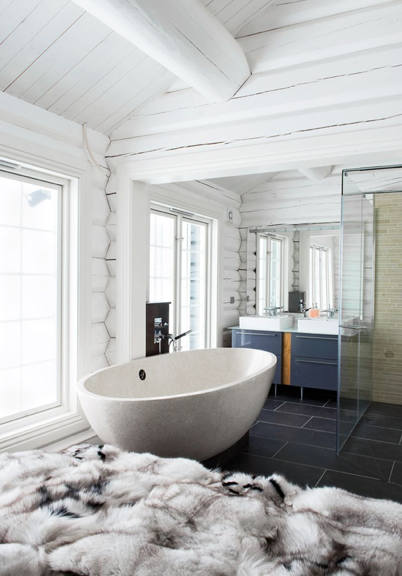 Gorgeous contemporary bathroom design within a rustic log home ...