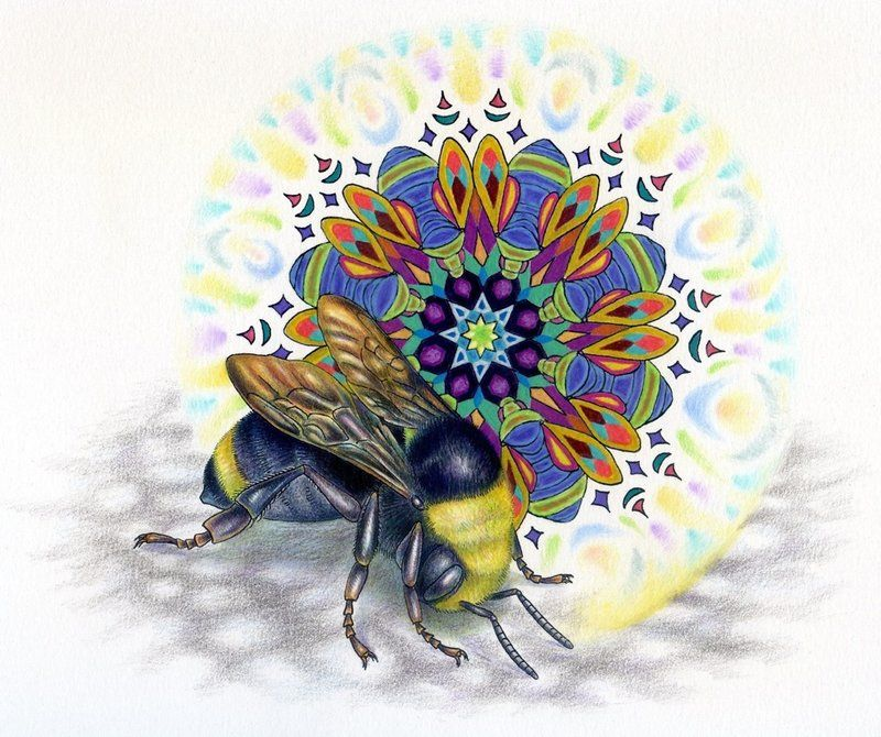 Bombus Nouveau By ~NoelBadgesPugh; Ink, Watercolor