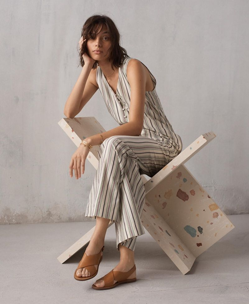 77e44e588ff Madewell Striped Button-Down Jumpsuit and The Boardwalk Crossover Sandal  Relaxed Outfit