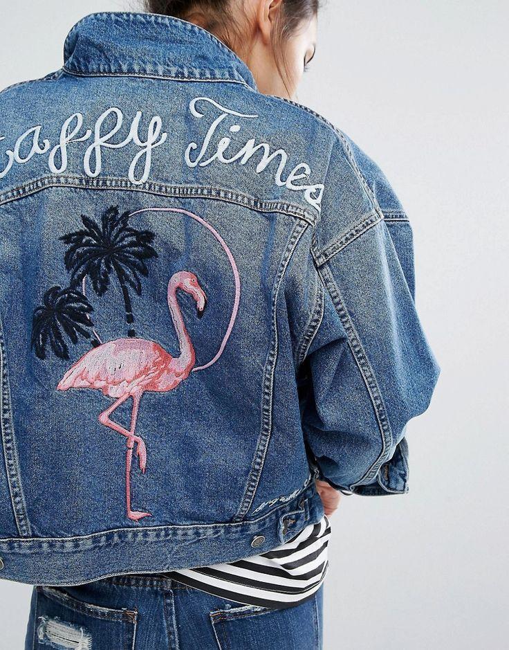 Pull&Bear Denim Jacket In Vintage Wash With Flamingo Motif ...