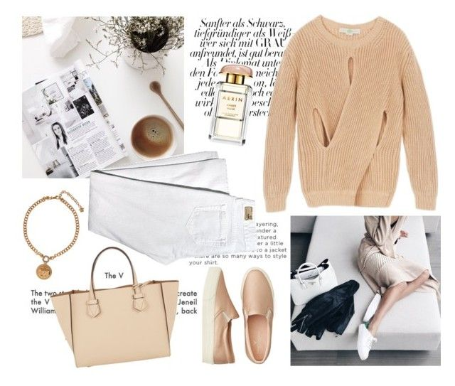 """Saturday morning"" by divadiscodiva ❤ liked on Polyvore featuring American Eagle Outfitters, Dorothy Perkins, STELLA McCARTNEY, Moreau, Versace and Estée Lauder"