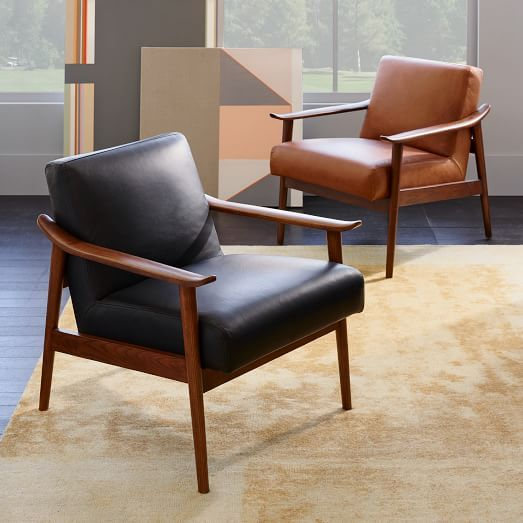 Mid-Century Leather Show Wood Chair  west elm Upholstered - $599 Leather -  $999