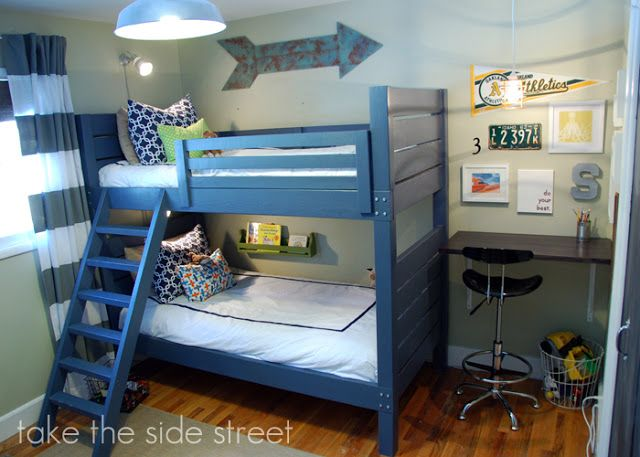 Love Desk Placement Boys Bedroom With Blue Wood Bunk Beds