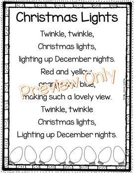 christmas lights poem for kids christmas song sight words poem of the week holiday poems poetry notebook twinkle twinkle - Christmas Songs For Kids