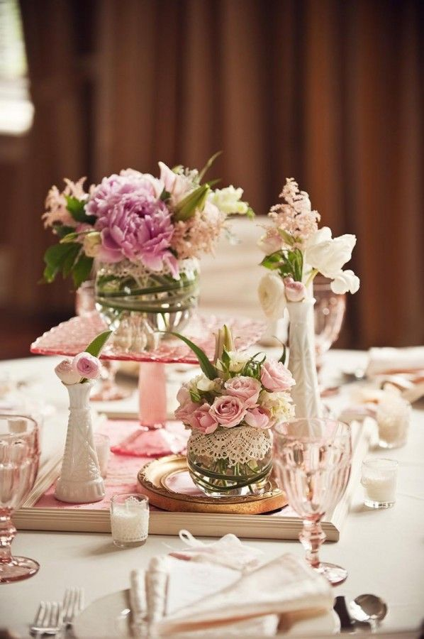 Lace wrapped glass vases unique centerpiece ideas