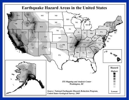 US Fault Lines GRAPHIC Earthquake Hazard MAP Major - After the earthquake new map of us